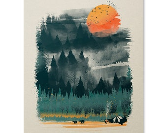 Wilderness Print / Camping Print / Outdoor Print / Wilderness Wall Art / Bear Print / Forest / Home Decor / 8 x 10