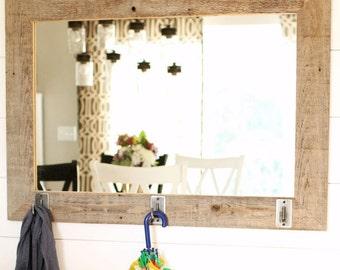 Rustic Mirror - Barnwood Style with Iron Hooks