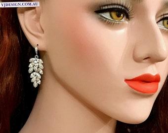 Leaves Bridal Earrings, Swarovski Crystal Wedding Earrings, Dangle Earrings, Woodland Wedding Jewelry, Silver Bridal Jewelry, BOTANiCA