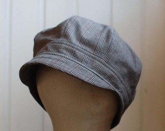 Daria L: Cloche made from recycled black plaid fabric for men or women, newsboy hat in lightweight cotton fabric for spring, summer or fall