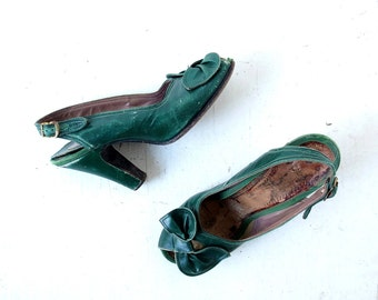 Vintage 1940s Heels | Green Leather Shoes | 40s Shoes | Size 6