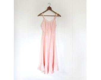 Vintage 1940s Slip | Pink Taffeta Slip | Full Slip | XXS XS