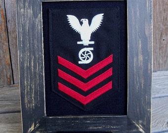 Framed U.S. Navy Rating Badges, Enlisted, Military, Rating Insignia, Navy Veteran, Military Gift, Military Decor, Navy Retirement Gift