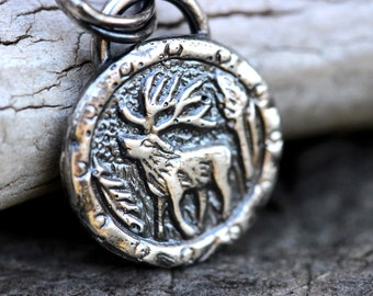 Deer Antler Necklace Elk Antler Necklace Deer Necklace Antler Jewelry Sterling Silver Charm Necklace Winter Necklace Silver Coin Necklace