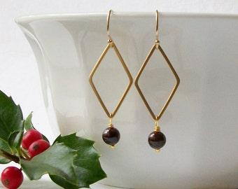 Garnet Dangle Earrings, Birthstone Earrings