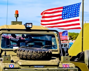 US Army Jeep Land Rover Defender & American Flag Fine Art Print