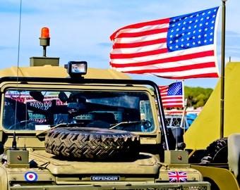 Camoflauge Jeep Land Rover Defender & American Flag Fine Art Print