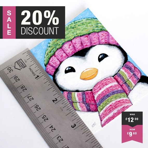 ON SALE | Original ACEO Cute Whimsical Penguin Wearing Striped Scarf & Hat Illustration by Lisa Marie Robinson