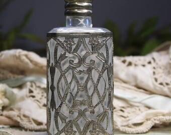 Vintage Perfume Bottle with SILVER OVERLAY- Ornate Bottle with Filigree Design- Vintage Vanity- Dresser Bottle- D1