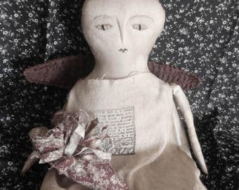 Primitive Handmade Folk Art Valentine Angel