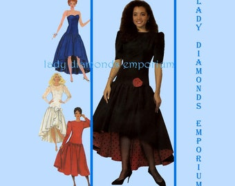 Simplicity 9451 Misses Dropped Waist Dress High Low Hem Strapless Option size 14 16 Prom Wedding Vintage 80s Sewing Pattern Uncut FF