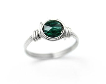 Emerald Ring - Promise Ring - Crystal Ring - Boho Ring - Stainless Steel Ring - Wire Wrapped Ring - Stacking Ring - Gift For Her - Wire Ring