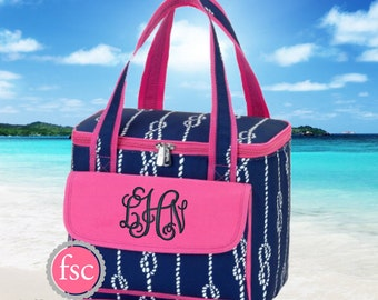 High Tied Personalized Cooler Bag, monogrammed Cooler Bag , Beach Cooler bag , vacation bag, Bridesmaid gift, Personalized Beach Bag