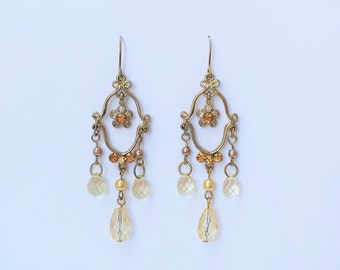 Gold Drop Dangle Filigree Earrings