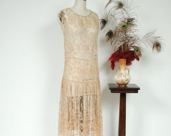 Vintage 1920s Wedding Dress - Elegant Champagn  Filet Lace  20s Bridal Dress with Classic Gathered Drop Waist - Elysian Hour