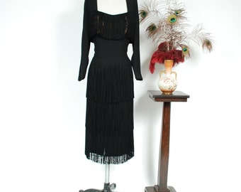 Vintage 1940s Dress - Rare Howard Greer Black Rayon Cocktail Dress with Fringed Bust and Skirt - Nightshade