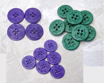 Etched Anchor Buttons - CHOOSE 1 inch Jewel Green, 25mm 18mm Indigo Blue - Plastic Pea Coat Nautical Ship Anchor Sewing Button PL447 PL580