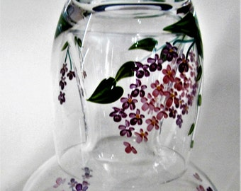 Flower Floral Lilac Tumble Up Raised Textured Purple Pink Hand Painted Night Stand Tumbler Glass Collectible Bedside Table Carafe Decanter