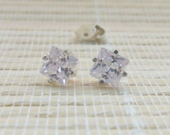Cubic Zirconia Stud Earrings Sterling Silver 6mm