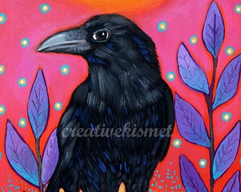 Raven's Sunset - 8.5 x 11 art print by Regina Lord
