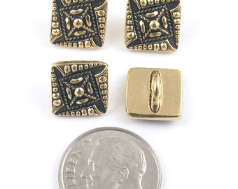 TierraCast Pewter Buttons-Gold Plated Czech Square 10mm (4)