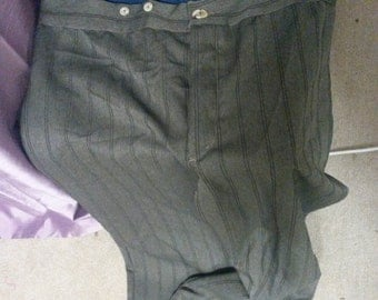 READY TO SHIP, Gent's Victorian Edwardian High Waist Fishtail Trousers, brown grey twill 40-42 waist