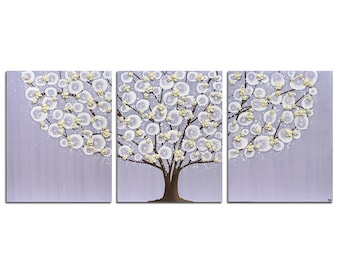 Purple Wall Art Tree Painting on Canvas Triptych for Baby Girl Nursery - Large 50x20