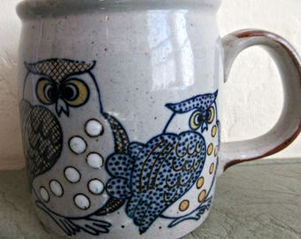 Vintage Owl Mug, 1970s Owl Mug, Owl Ceramic Mug, Stoneware Coffee Cup, Blue Owls, Dotted Owls Cup, Vintage Mug, Blue and White Pottery Mug