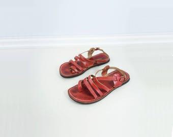 Red Gladiator Sandal Boho Leather Sandal Vintage Red Sandal Red Strappy Sandal Flat Leather Sandal Boho Vintage Sandal Handmade Sandal 6 36