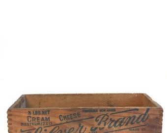 Vintage Wooden Cheese Box~ Silver Brand New York~ Rustic Primitive Storage~ Old Repurposed containers~ Industrial storage
