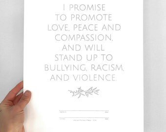 Love Art, Promise of Peace screenprint, Silver Peace poster, Message of Peace & Love, anti-bullying anti-racism anti-violence, good vibes