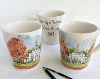 Personalized graduation gift mug university college high school teacher gift custom portrait from your photo by Cathie Carlson