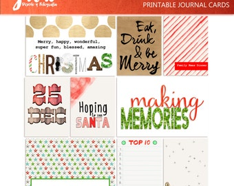 DECEMBER Journal Cards, Christmas, scrapbook journal spots, xmas, journaling, printable