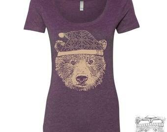Womens Beanie Bear Scoop Neck Tee - T Shirt S M L XL XXL (+ Colors)