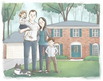 Custom Portrait Family art illustration (Cute soft style + bg) -  Anniversary gift, Custom portrait illustration, Custom Portrait Couple