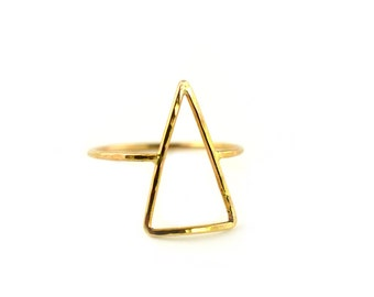 Large Triangle Ring, Gold Arrow Ring, Geomtric Jewelry