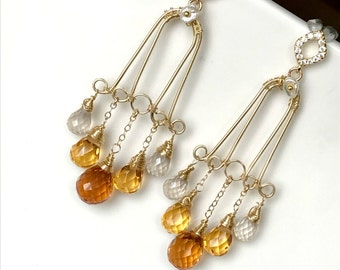 Gold Gemstone Chandelier Earrings Gold Filled Wire Wrap Handmade Gold Chandelier CZ Post Gold Quartz Long Statement Chandelier Earrings
