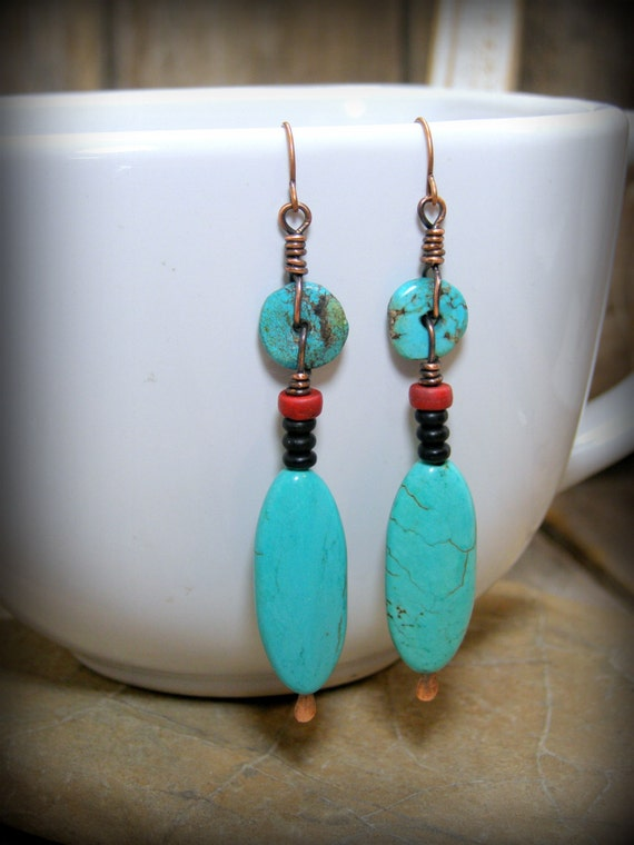 Turquoise Earrings Native American Inspired Long Dangle with Copper