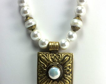 Pearl and Brass Pendant on Bronze Chain Necklace   Long Necklace   Pearl Necklace