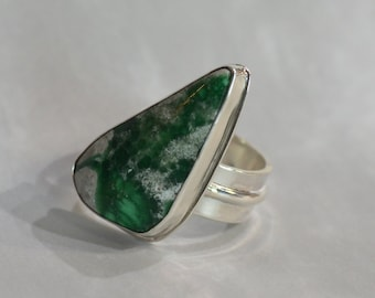 Trianglar Green Variscite and Sterling Silver Statement Ring