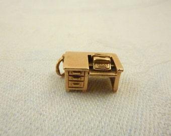 Antique 14K Gold Movable Revolving Typewriter Desk Charm