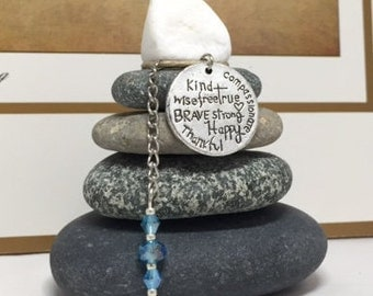 Kind Wise Free True Brave Strong Happy Thankful Compassionate Rock Cairn, Appreciation, Teacher Gift Gratitude Law of Attraction Desk Gift