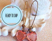 Heart Earrings - Peach - Gift Under 25 - Victorian Jewelry - HEARTSONG Peach
