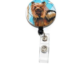 Yorkie Badge Reel with Retractable ID Holder  -  Dog Name tag Holder  -  Animal lover gift
