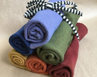 "Hemp and Organic Cotton Reusable Washcloths/ Hand dyed 10""x10""/Set of 6"