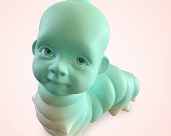 Wormbaby figurine, Caterpillar baby head sculpture, Unusual figurine, Odd art object