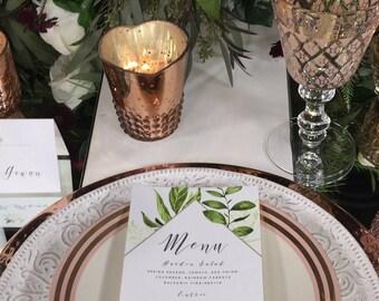 "Greenery Design Dinner Menu, Tea Length Flat Wedding Menus - 4 x 8"""