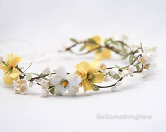Flower Crown Of Yellow and Ivory Flowers Wedding Hair Yellow Daisy Floral Halo Boho Wedding Bridesmaid or Flower Girl Headband