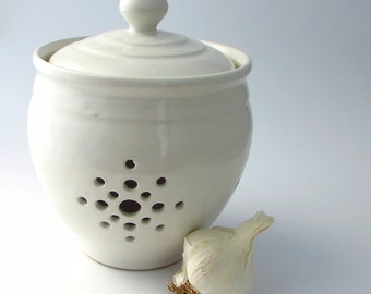 Handmade Pottery Garlic Keeper in Pure White