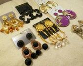 Vintage Lot Clip Earrings - 7 Pair Black, Gold, Dangle, Big Bold, Studio Supplies, BoHo, Hippie, Crafts